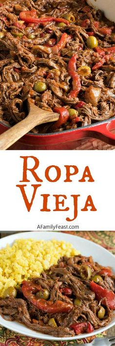 Vieja Ropa Vieja is a zesty and delicious dish of beef with peppers, braised in a rich tomato-based sauce.Ropa Vieja is a zesty and delicious dish of beef with peppers, braised in a rich tomato-based sauce. Beef Recipes, Mexican Food Recipes, Dinner Recipes, Cooking Recipes, Ethnic Recipes, Latin Food Recipes, Drink Recipes, Dessert Recipes, Comida Latina