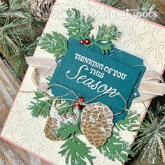 Seeing Ink Spots: Monday Montage Pretty with Pink Christmas Flyer, Christmas Catalogs, Stampin Up Christmas, Christmas Cards To Make, Handmade Christmas, Handmade Greetings, Greeting Cards Handmade, Leaf Cards, Wood Stamp