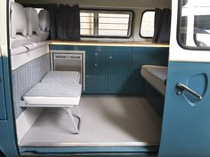 Custom interior for VW camper vans - interiors for all Volkswagens from splitties to Modern and retro designs bespoke for your campervan Vw Bus, Volkswagen Bus Interior, Kombi Interior, Vw T1 Camper, Transit Camper, Vw Volkswagen, Combi Vw T2, Kombi Trailer, Rock And Roll Bed