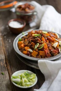 This paleo & gluten-free Smoky Beanless Chili Recipe has smoky bacon, ground beef, and a little bit of sweetness from sweet potato and butternut squash.