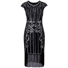 Silver XL Fringe Sequins Cap Sleeve Vintage Party Dress ($24) ❤ liked on Polyvore featuring dresses, silver dress, silver fringe dress, cap sleeve cocktail dress, silver sequin embellished dress and sequin cocktail dresses