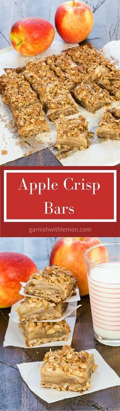 These Apple Crisp Bars have all the deliciousness of my favorite fall dessert in a portable bar form. Great for potlucks and lunch boxes! ~ http://www.garnishwithlemon.com