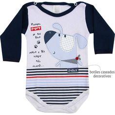 Body Bebê Menino Manga Longa Marinho - Patimini :: 764 Kids | Roupa bebê e infantil