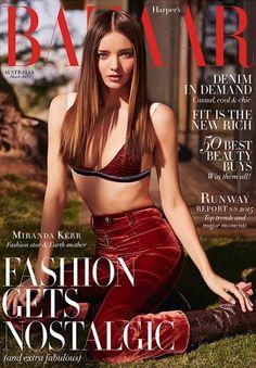 Miranda Kerr in burgundy velvet pants and matching bralette for Kai Z Feng for Harper's Bazaar Australia
