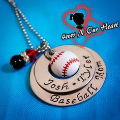 Premium Personalized Hand Stamped Baseball Necklace on Etsy, $26.00