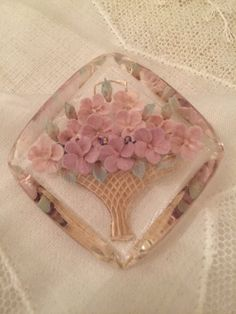 Art Deco Reverse Carved Lucite Pin with Pink flowers in Vase by StaceyDoesVintage