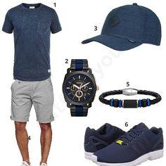 Herren-Style in Navy und Hellgrau (m0372) #outfit #style #fashion #menswear #mensfashion #inspiration #shirt #cloth #clothing #männermode #herrenmode #shirt #mode #styling #sneaker #menstyle