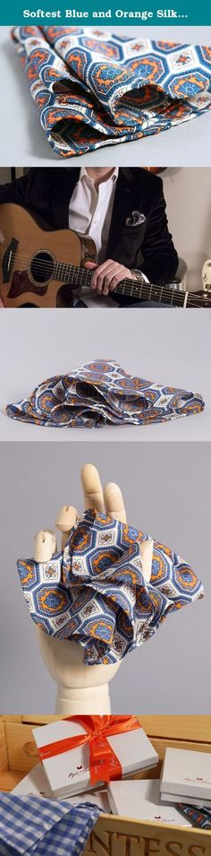 Softest Blue and Orange Silk Twill Tie Fabric Pocketsquare Round Handkerchief (The Artos). The Artos, orange and blue, with repeating classic geometric patterns is a vivid and bold complement to any suit. Worn with the hand rolled edges toward the top it's perfect for an evening out, while if worn with more flair it can be a suitable replacement for a tie during the day. A well-made pocket square is a singular indulgence. This is why each square and round, from scissor to final stitch…