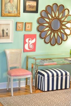 Mint, Coral & Navy - Love the color combo! by tommie-- Color of the Month on LoveNestDesign blog-- June is Coral and July is Mint Green