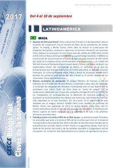 Resumen de las noticias internacionales más destacadas del 4 al 10 de septiembre de 2017, elaborado por el departamento de Riesgo País de CESCE.