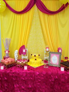 Belle (Beauty and the Beast) inspired 4 year olds birthday party. Dessert buffet created by Two Sweets Bake Shop (www.lovetwosweets.com), stationery created by Dogwood Blossom Stationery & Invitation Studio (www.dogwoodblossomstationery.com)