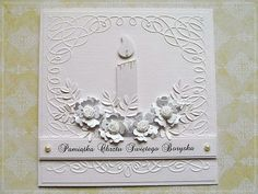 Stunning White on White Candle Card...with dimensional flowers.