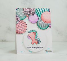 Magical unicorn, balloons, Copic markers card and video tutorial. Unicorn Balloon, Unity Stamps, Interactive Cards, Magical Unicorn, Ink Pads, Copic Markers, Distress Ink, Diy Wall, Handmade Cards