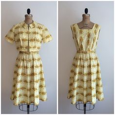 A personal favorite from my Etsy shop https://www.etsy.com/listing/510365699/vintage-1950s-floral-print-yellow-cotton