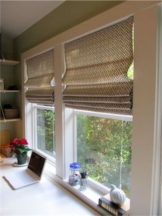 DIY roman shades from cheap mini-blinds. This is Hobby Lobby Fabric, i recognize it
