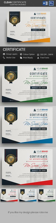 Certificate Certificate Template psd file and ms-ward file include Fully Clean Certificate A4 Paper Size With Bleeds Quick and easy to customize templates Any Size Changes Fully Group Layer Free Fonts Use Fully Vector