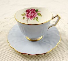 Aynsley Blue Tea Cup and Saucer with Pink Rose, Vintage Tea Cup, Bone China