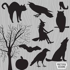 Halloween Vector Silhouette Clip Art Raven Witch Black Cat Crow Howling Wolf Bat