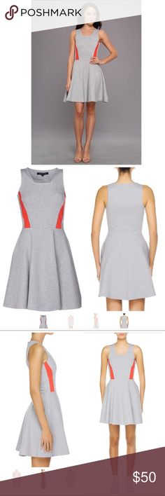 French Connection Bright Lucy Flare Dress Sleeveless fit and flare skater dress from French Connection. Gray with edgy bright orange (almost red) racing stripes at the sides. Jersey knit fabric. Great condition with no signs of wear. Size 8 French Connection Dresses
