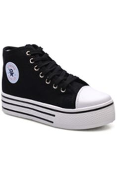 Shop Black High-top Canvas Shoes at ROMWE, discover more fashion styles online. Black High Tops, Latest Street Fashion, Summer Essentials, Romwe, Converse Chuck Taylor, Fashion Forward, Style Me, High Top Sneakers, Classy