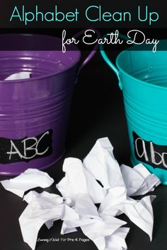 Alphabet Clean Up Activity for Earth Day.  A fun, hands-on learning activity that will help your preschool and kindergarten kids practice their alphabet identification skills.- Pre-K Pages
