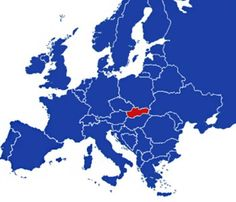 Slovakia on the map of Europe