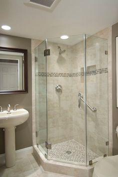 Basement Bathroom Ideas: Shower Stalls Tags: Basement Intended For Bathroom Corner Shower Tile Ideas - Best Home Decor Ideas Small Basement Bathroom, Bathroom Renos, Bathroom Layout, Bathroom Designs, Modern Basement, Bathroom Renovations, Bathroom Showers, Bath Shower, Glass Showers