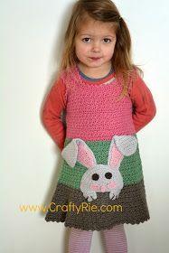 A crochet bunny rabbit dress for my daughter, Laney.