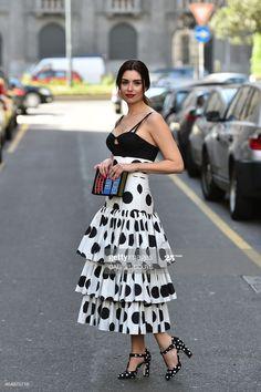 Dots Fashion, White Fashion, Skirt Fashion, Fashion Dresses, Milan Fashion Week Street Style, Autumn Street Style, Autumn Fashion, Spring Fashion, Fashion 2015