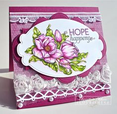 It's reveal day 3 at Flourishes and Christine Okken created this beautiful card using Flourishes brand new Magnolias Stamp Set by Marcella Hawley. She also used Flourishes trims and laces. Be Sure to check out her Blog for more details.