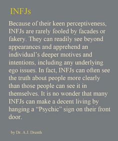 Proven time and time again but nobody ever listens until they see it unfold! Always listen to your infjs!