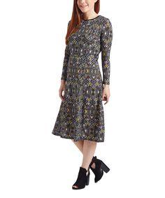Look what I found on #zulily! Nancy Yang Black Geometric A-Line Dress by Nancy Yang #zulilyfinds
