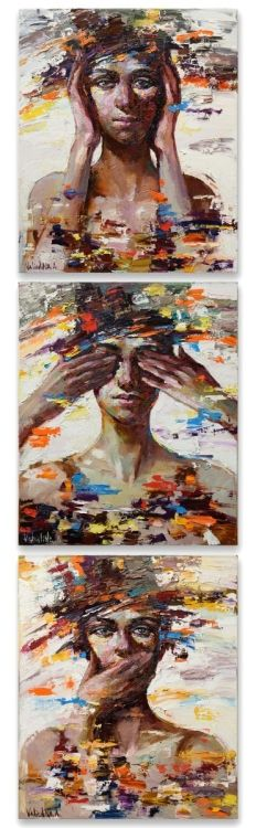 """Three abstract female portraits based on symbol of the three wise monkeys. Together they embody the proverbial principle """"see no evil, hear no evil, speak no evil"""". This colorful paintings made w..."""