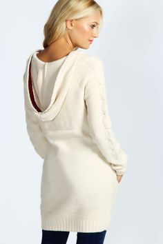 Hooded Cable Sweater <3 #casual I love this look.