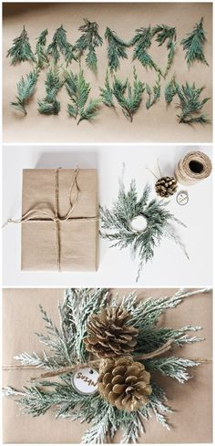 Add a mini wreath to your gift wrapping this Christmas. All you need is a few sprigs of greenery, jute twine, hobby wire, and flocking spray.