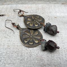 Rustic Raw Garnet Earrings  Handmade with Tribal Metalwork