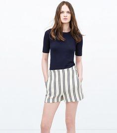 Zara High-Waisted Striped Shorts