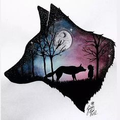 60 Trendy ideas for dark art tattoo the moon Galaxy Painting, Galaxy Art, Cute Animal Drawings, Cute Drawings, Wolf Drawings, Dark Art Tattoo, Tattoo Art, Wolf Artwork, Wolf Painting