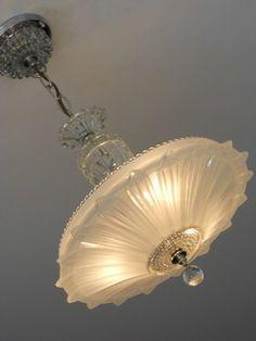 ❤ - C.30's Art Deco Vintage Ceiling light fixture Petal Chandelier Antique Lamp