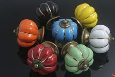 Amazon.com: Imixlot Cute Lovely Pumpkins Knobs Pastoral Style Europe Slippy Ceramic Door Cabinet Cupboard Handles Pull Drawer 40mm For Children Bedroom Seven Color Pick of Yours: Jewelry