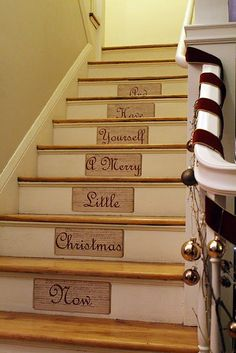 If I had a wooden staircase I would absolutely do this! - A Merry Message Along Our Staircase Merry Little Christmas, Christmas Love, All Things Christmas, Winter Christmas, Christmas Crafts, Christmas Ideas, Christmas Christmas, Christmas Shopping, Winter Holidays