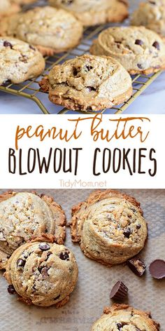 Peanut Butter Blowout Cookies are loaded with peanut butter, chocolate chips, peanut butter cups and honey roasted peanuts. Print the full recipe at TidyMom.net #cookies #peanutbutter #chocolatechip