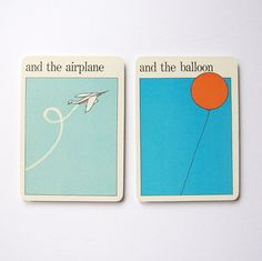Airplane and Balloon  Vintage MOMA Art Cards  by LastCentury