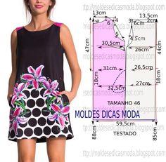 Passo a passo construção molde de vestido. O molde de vestido tem o tamanho 46. A ilustração do molde de vestido não tem valor de costura.