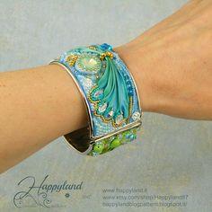 Le gioie di Happyland, blue mint shibori silk cuff bracelet