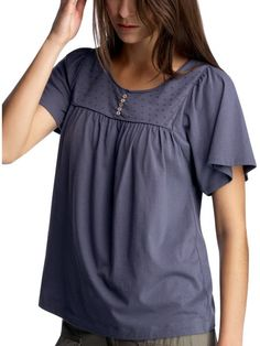 Women s Clothing Women s Clothing Woven detail T Tops European Collection Gap - Stylehive
