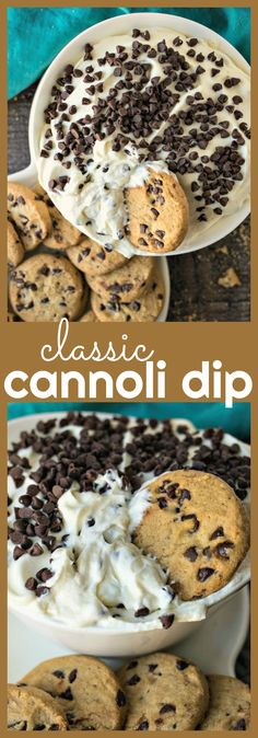 Classic Cannoli Dip – A creamy dessert dip made from whipped cannoli filling using real marscapone cheese and served with chocolate chip cookies! #dip #cannoli #desserts #recipes