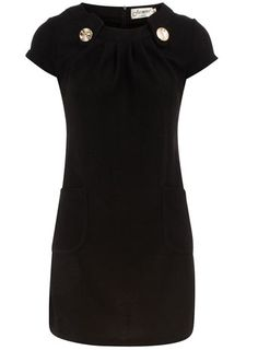 Black button detail dress / Dorothy Perkins