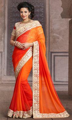 USD 63.49 Orange Chiffon Party Wear Saree 43667