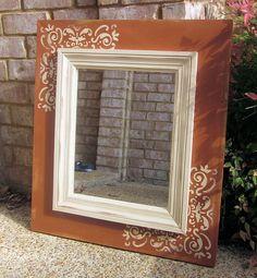 Stenciled mirror frame